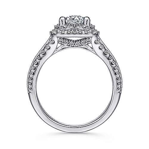 14k White Gold Diamond Milgrain and Channel Setting Double Halo Engagement Ring angle 2