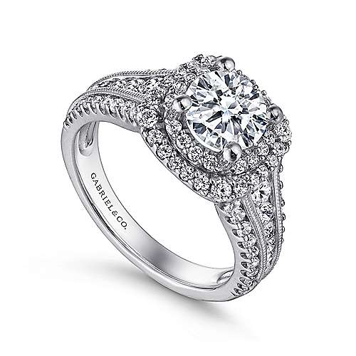 14k White Gold Diamond Milgrain and Channel Setting Double Halo Engagement Ring angle 3