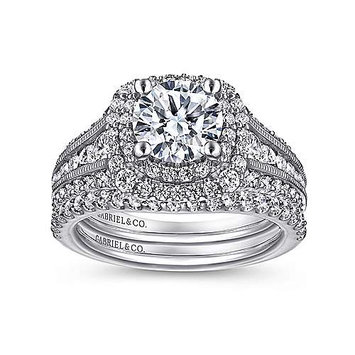 14k White Gold Diamond Milgrain and Channel Setting Double Halo Engagement Ring angle 4