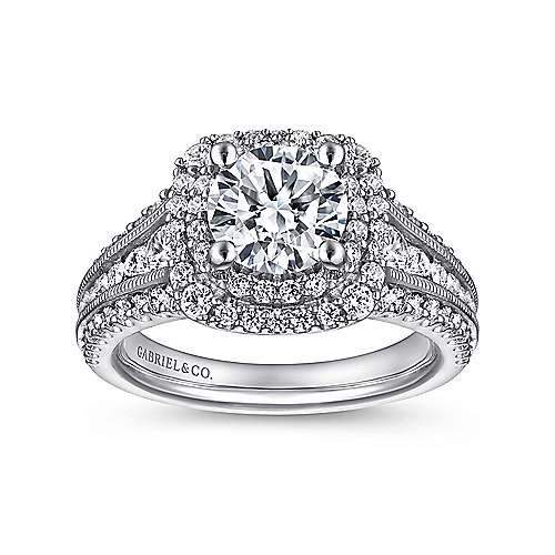 14k White Gold Diamond Milgrain and Channel Setting Double Halo Engagement Ring angle 5