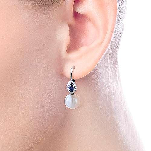 14k White Gold Diamond Multi Color Stones Drop Earrings angle 2