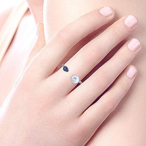 14k White Gold Diamond Multi Color Stones Fashion Ladies