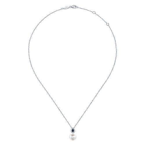 14k White Gold Diamond Multi Color Stones Fashion Necklace angle 2