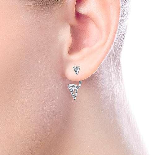 14k White Gold Diamond Open Triangle Peek A Boo Earrings angle 2