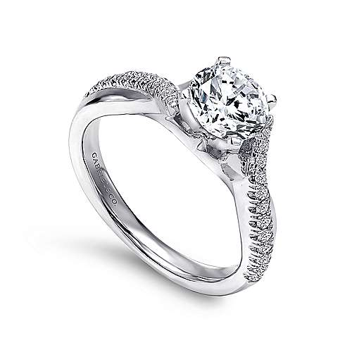 14k White Gold Diamond Pave Criss Cross Engagement Ring with Cathedral Setting angle 3