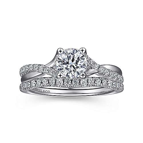 14k White Gold Diamond Pave Criss Cross Engagement Ring with Cathedral Setting angle 4