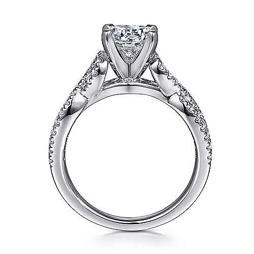 14k White Gold Diamond Pave Criss Cross Engagement Ring with Cathedral Setting angle 2