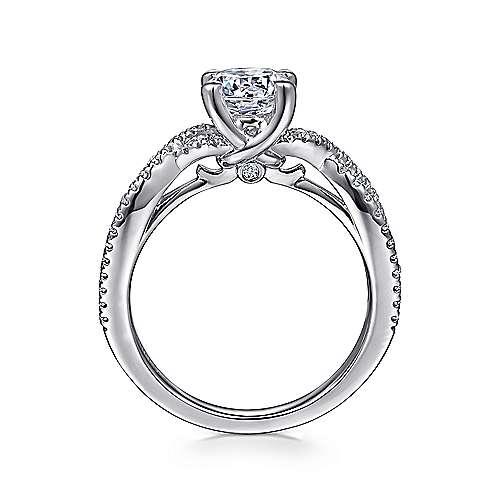 14k White Gold Diamond Pave Criss Cross Engagement Ring angle 2
