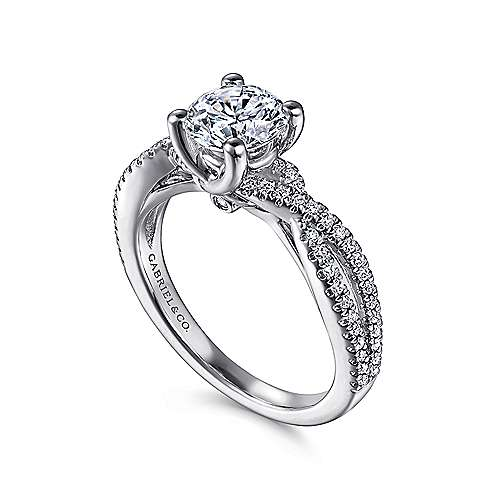 14k White Gold Diamond Pave Criss Cross Engagement Ring angle 3