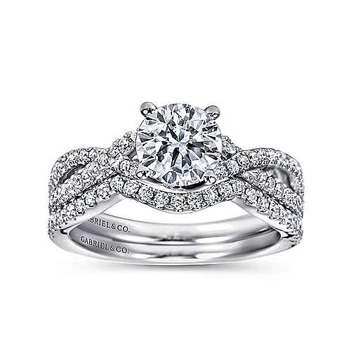 14k White Gold Diamond Pave Criss Cross Engagement Ring angle 4
