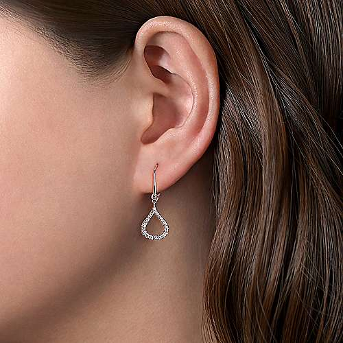 14k White Gold Diamond Pave Droplet Earrings angle 2