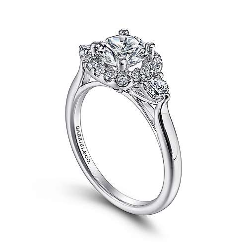 14k White Gold Diamond Pave Halo Engagement Ring and Side Stone Setting angle 3