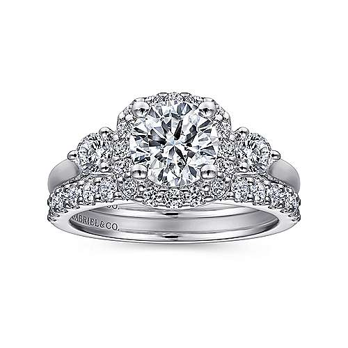 14k White Gold Diamond Pave Halo Engagement Ring and Side Stone Setting angle 4