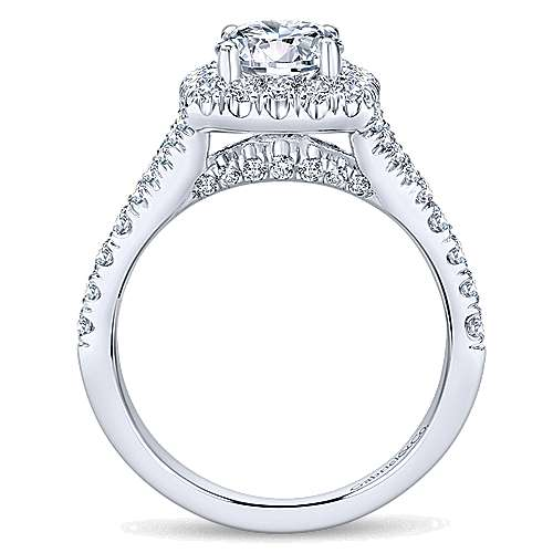 14k White Gold Diamond Pave Halo Engagement Ring angle 2