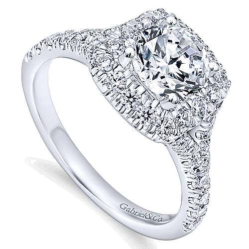 14k White Gold Diamond Pave Halo Engagement Ring angle 3