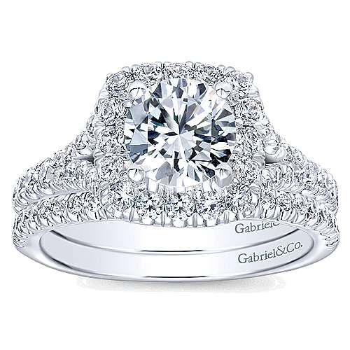 14k White Gold Diamond Pave Halo Engagement Ring angle 4