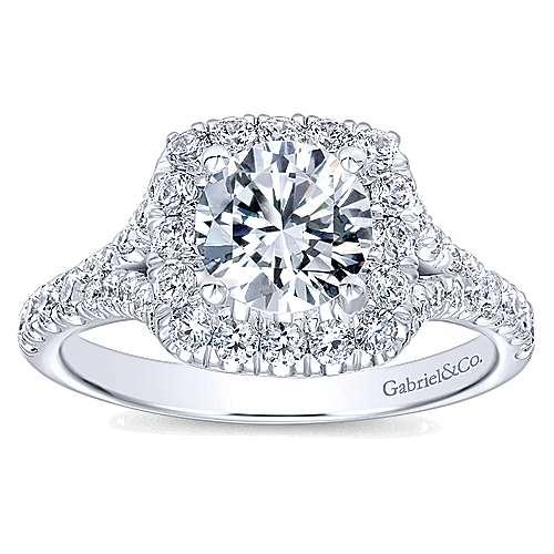 14k White Gold Diamond Pave Halo Engagement Ring angle 5