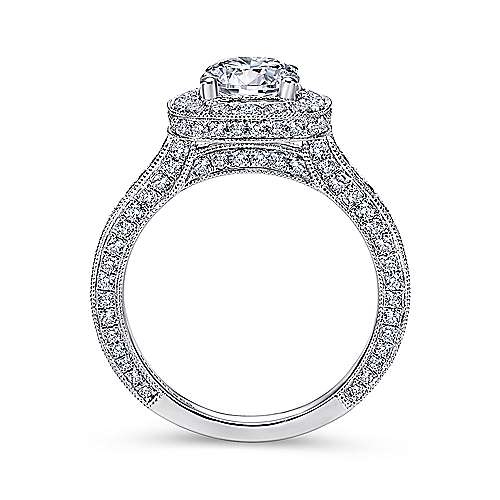 14k White Gold Diamond Pave Halo Milgrain and Channel Set Engagement Ring  angle 2
