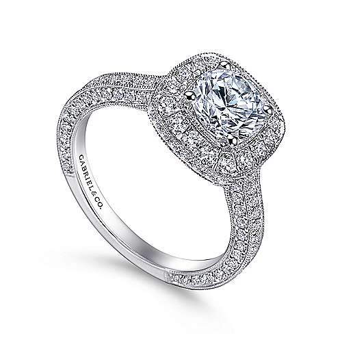14k White Gold Diamond Pave Halo Milgrain and Channel Set Engagement Ring  angle 3
