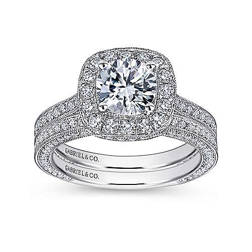 14k White Gold Diamond Pave Halo Milgrain and Channel Set Engagement Ring  angle 4