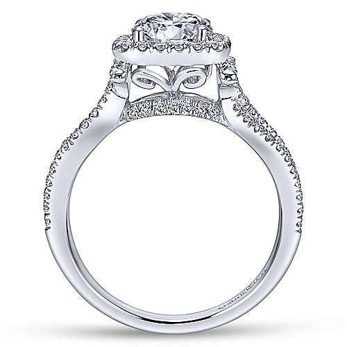 14k White Gold Diamond Pave Halo Split Shank Engagement Ring angle 2