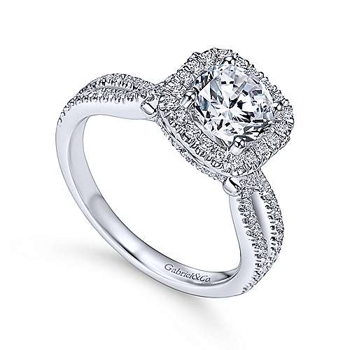 14k White Gold Diamond Pave Halo Split Shank Engagement Ring angle 3
