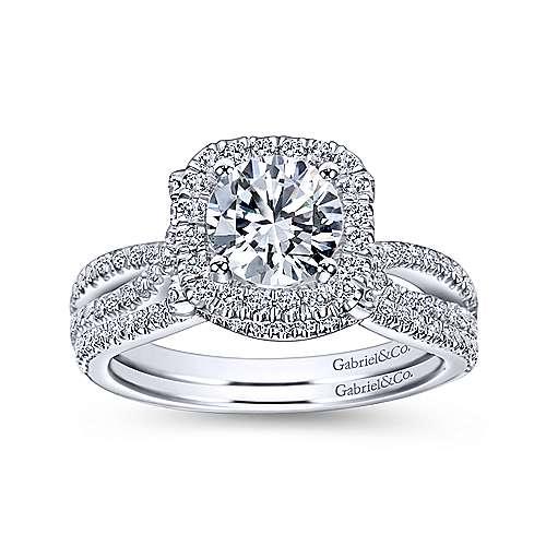 14k White Gold Diamond Pave Halo Split Shank Engagement Ring angle 4