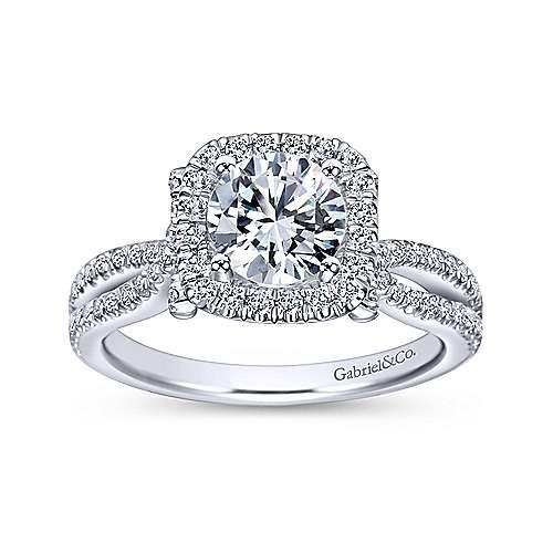 14k White Gold Diamond Pave Halo Split Shank Engagement Ring angle 5