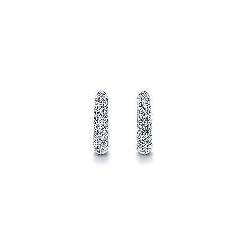 14k White Gold Diamond Pave Huggie Earrings angle 3