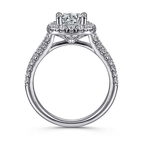14k White Gold Diamond Pave Split Shank Halo Engagement Ring angle 2