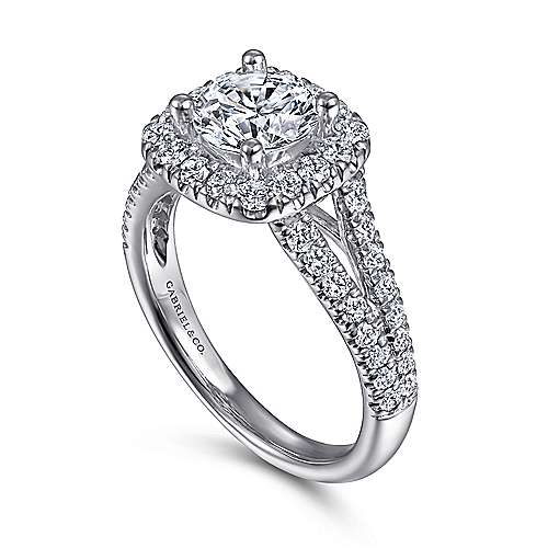 14k White Gold Diamond Pave Split Shank Halo Engagement Ring angle 3