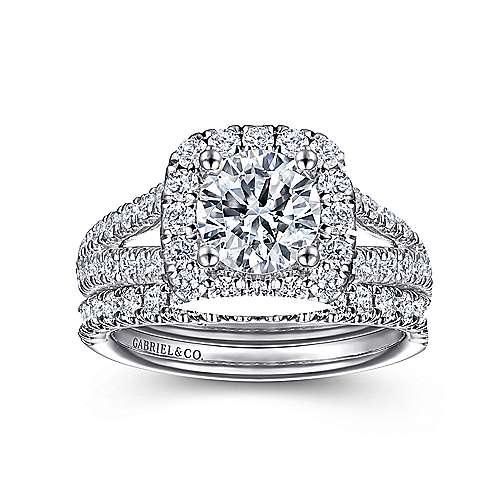14k White Gold Diamond Pave Split Shank Halo Engagement Ring angle 4