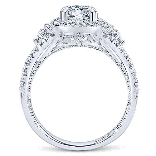 14k White Gold Diamond Pave and Milgrain Halo Engagement Ring angle 2