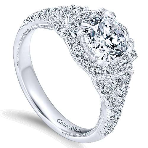 14k White Gold Diamond Pave and Milgrain Halo Engagement Ring angle 3