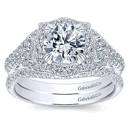14k White Gold Diamond Pave and Milgrain Halo Engagement Ring angle 4