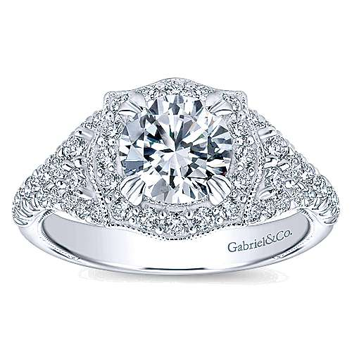 14k White Gold Diamond Pave and Milgrain Halo Engagement Ring angle 5