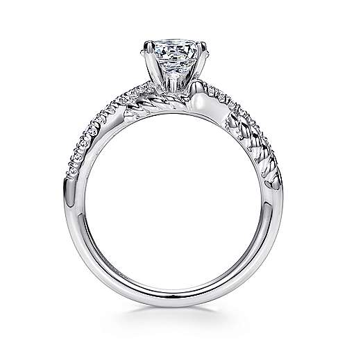 14k White Gold Diamond Pave and Roped Criss Cross Engagement Ring angle 2