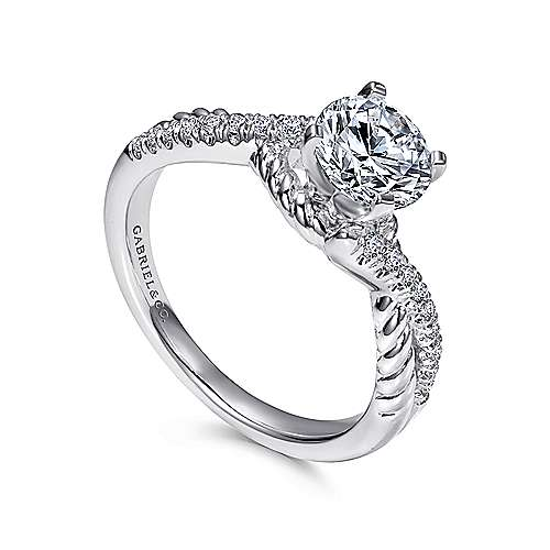 14k White Gold Diamond Pave and Roped Criss Cross Engagement Ring angle 3