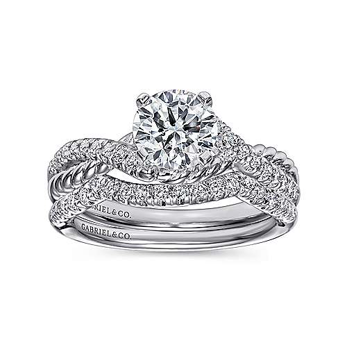 14k White Gold Diamond Pave and Roped Criss Cross Engagement Ring angle 4