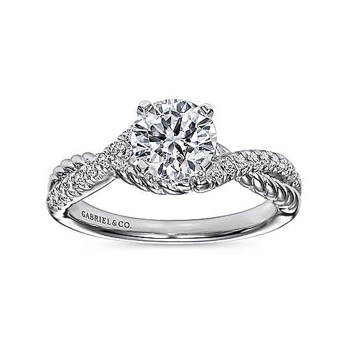 14k White Gold Diamond Pave and Roped Criss Cross Engagement Ring angle 5