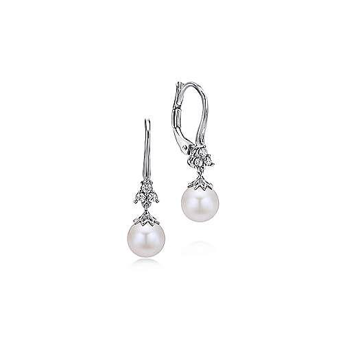 14k White Gold Diamond Pearl Drop