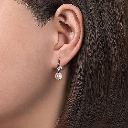 14k White Gold Diamond Pearl Drop Earrings angle 2