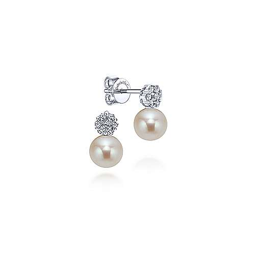 14k White Gold Diamond Pearl Drop