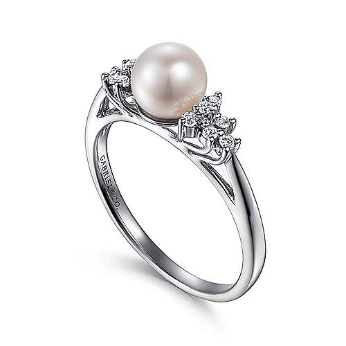14k White Gold Diamond Pearl Fashion Ladies