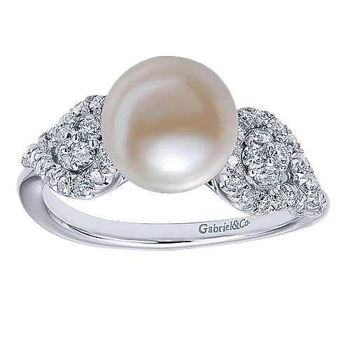 14k White Gold Diamond Pearl Fashion Ladies
