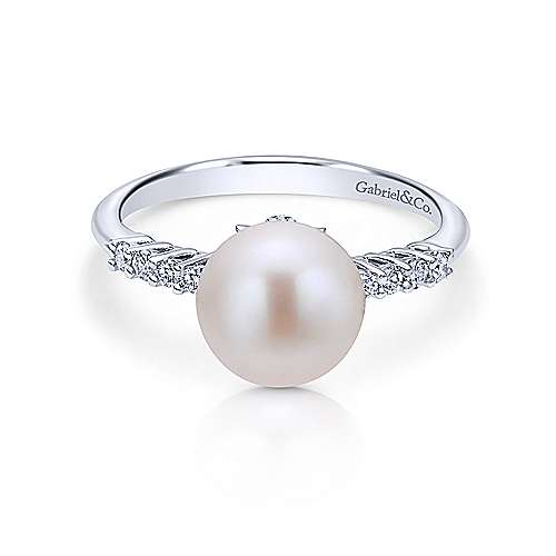 14k White Gold Diamond Pearl Fashion