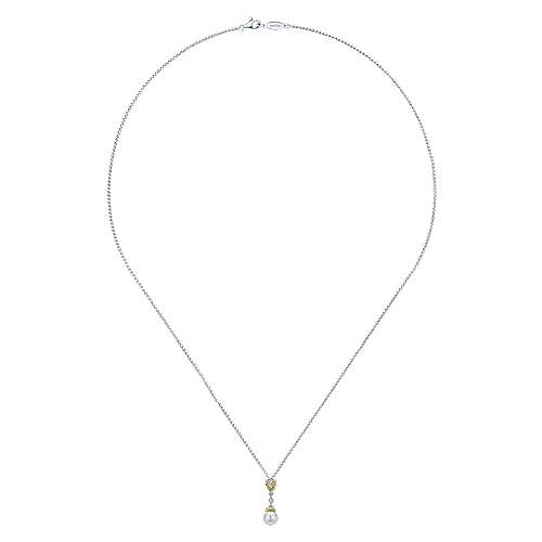 14k White Gold Diamond Pearl Fashion Necklace angle 2