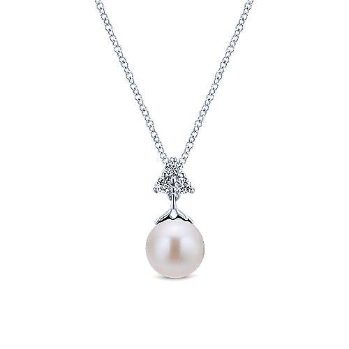 14k White Gold Diamond Pearl Fashion Necklace angle 1
