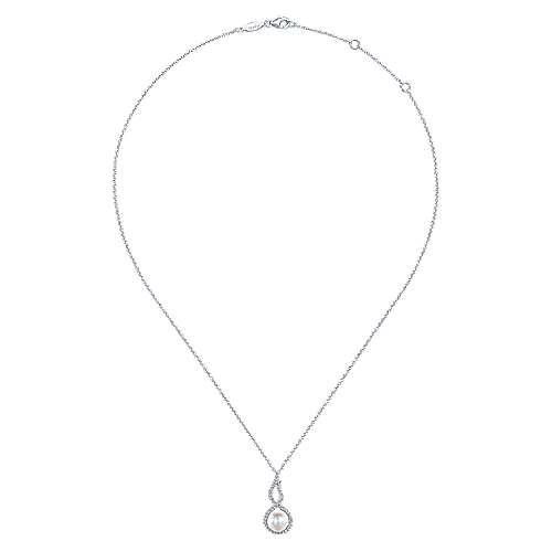 14k White Gold Diamond Pearl Fashion Necklace angle 2