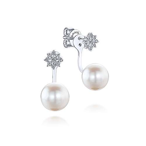 Gabriel - 14k White Gold Grace Peek A Boo Earrings